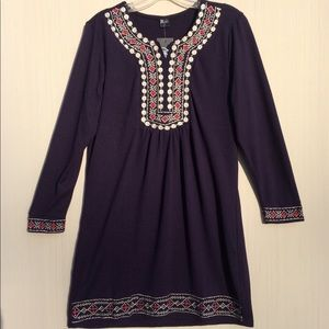 Navy tunic sweater with embroidered trim, L